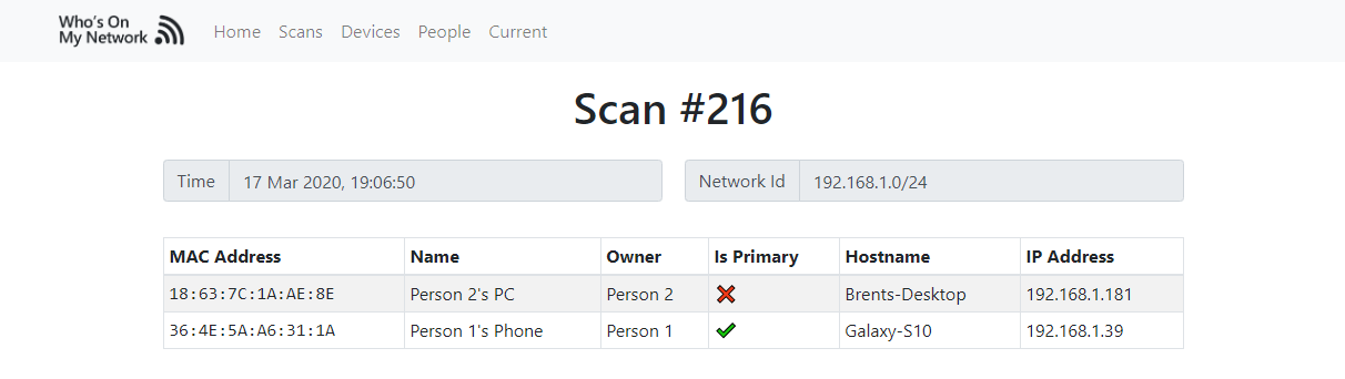 Who's On My Network Scan Screenshot